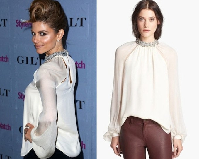 Haute Hippie Crystal Collar Silk Blouse in Ivory/Crystal
