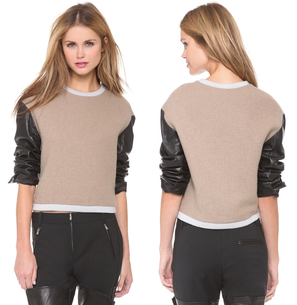 Leather Sleeve Tricolor Top