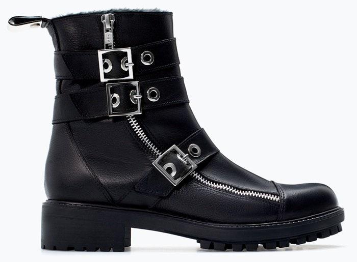 Zara Leather Biker Booties