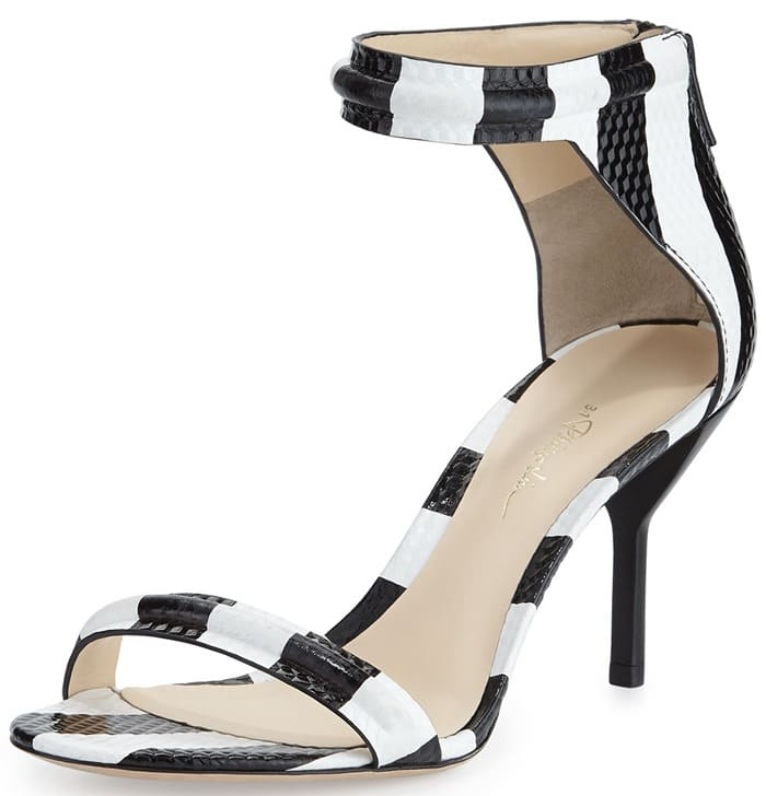 3.1 Phillip Lim White Martini Striped Mid-Heel Sandals
