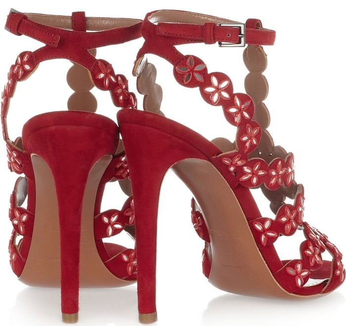 Alaia Red Mirror Embellished Suede Sandals