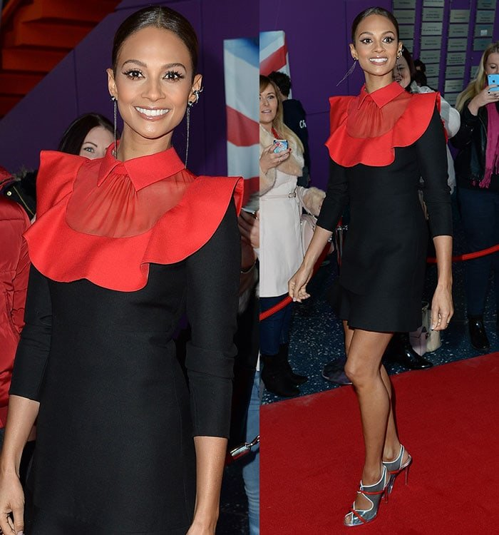 Alesha Dixon pulled her locks into a sleek center-parted ponytail