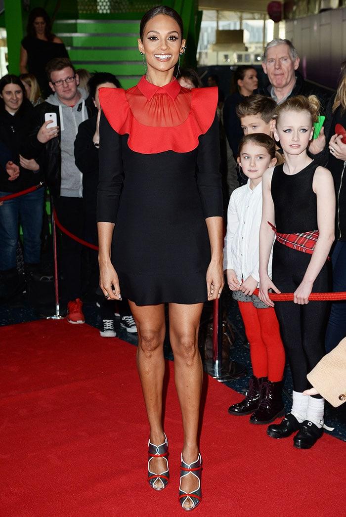 Alesha Dixon's sexy legs in a black Valentino wool-and-silk mini dress