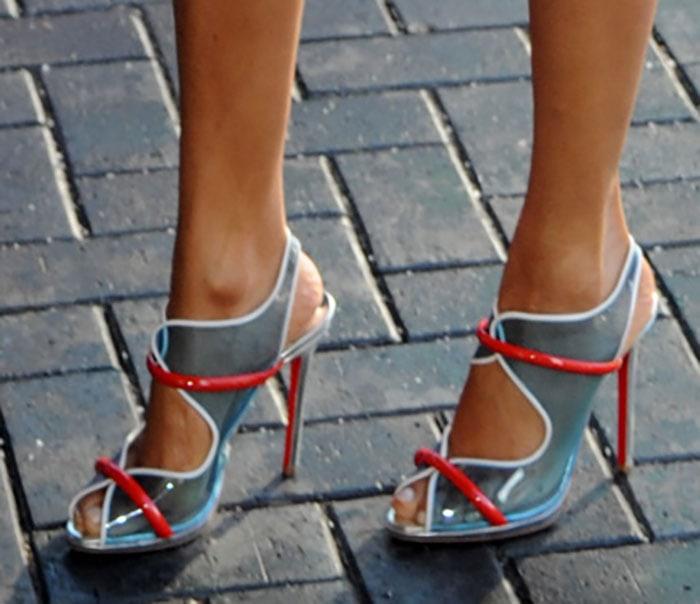 Alesha Dixon wearing Christian Louboutin PVC sandals