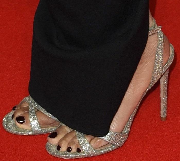 Alesha Dixon's sexy feet in glitter-encrusted Maia sandals from Kurt Geiger London