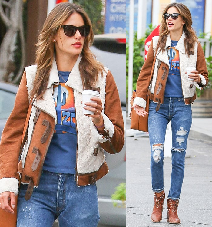 "Alessandra Ambrosio wearinga blue vintage-looking Midnight Rider T-shirt with ""Arizona"" emblazoned on the front"
