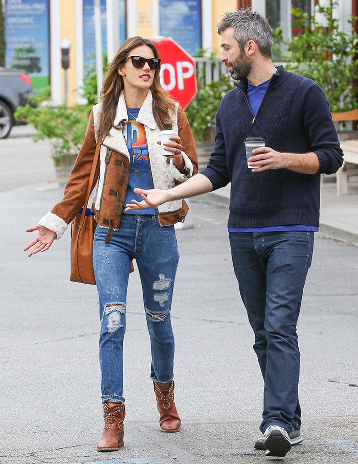 Alessandra Ambrosio out for coffee with a friend in Brentwood on January 30, 2015