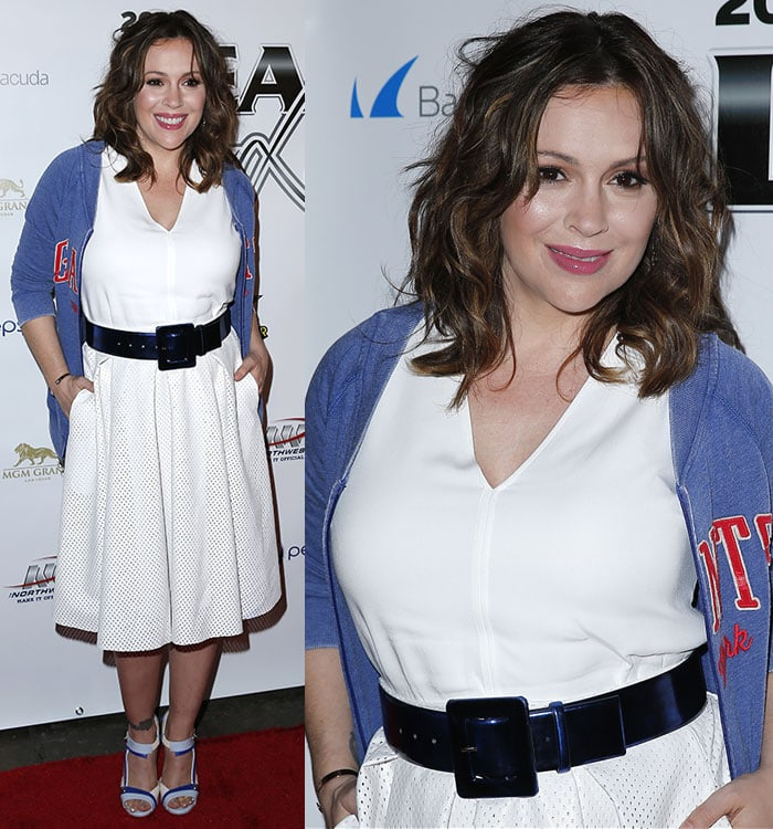 Alyssa Milano at the 12th Annual Leather and Laces Super Bowl XLIX Party at The Bentley Projects Gallery in Phoenix, Arizona, on January 30, 2015