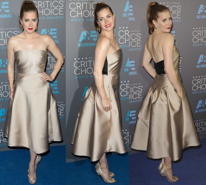 Amy Adams' ivory silk Duchesse bustier dress from Max Mara