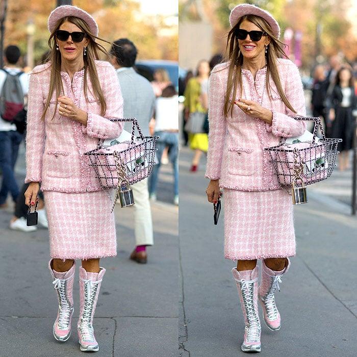 Anna Dello Russo wearing Chanel sneaker boots