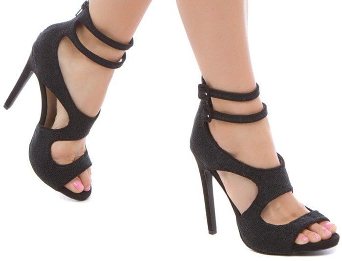 Ayemeline Black Sexy Strappy Sandals