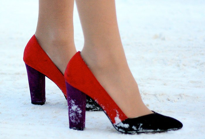 Blertina's color-blocked pumps stood out in the snow