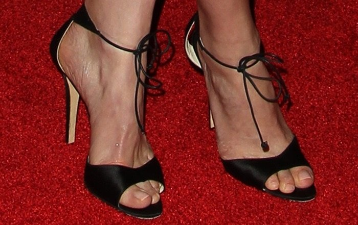 """Rosamund Pike's sexy feet inBrian Atwood """"Melly"""" sandals"""