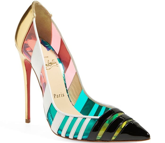 The slice-of-heaven stiletto silhouette plays a sophisticated game of peekaboo through neon translucent panels and tri-color leather stripes