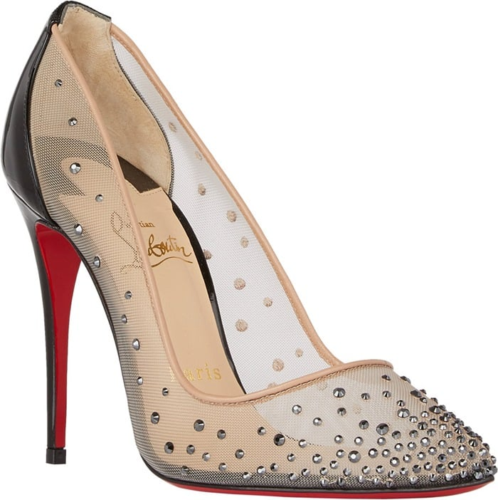 Christian Louboutin Beige Crystalembellished Follies Strass Pumps