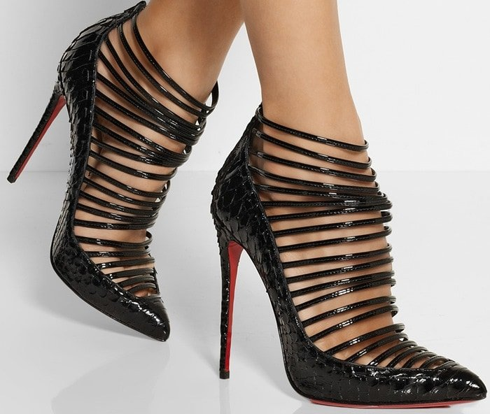 Christian Louboutin Gortik 120 python and patent-leather ankle boot