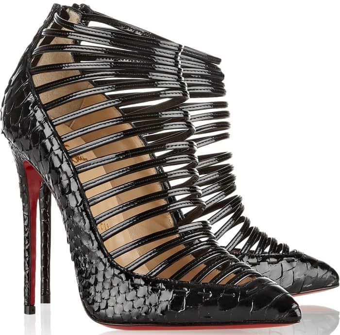 Christian Louboutin Gortik 120 python and patent-leather boots