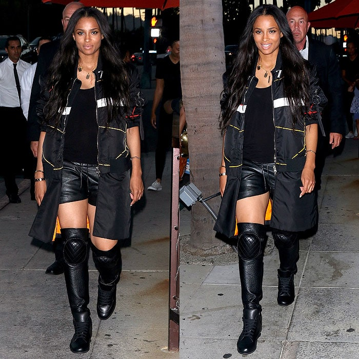 Ciara wearing Chanel thigh-high sneaker boots