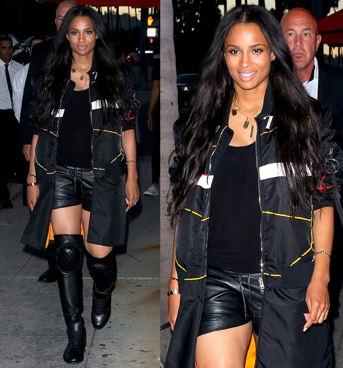 Ciara leaving the Crustacean restaurant in Beverly Hills