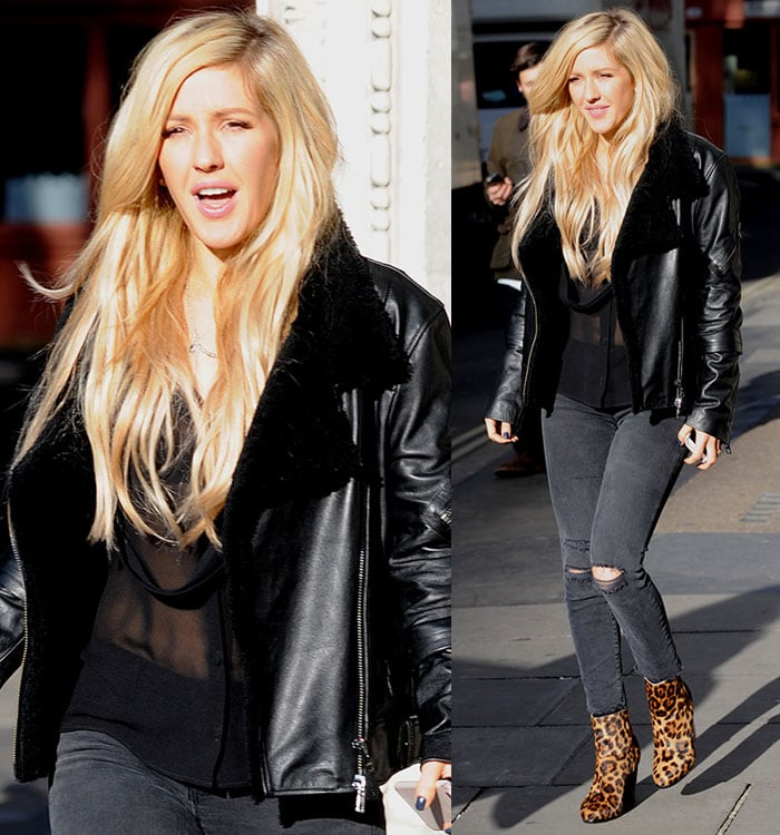 Ellie Goulding in a sheer long-sleeved top and J-Brand ripped jeans