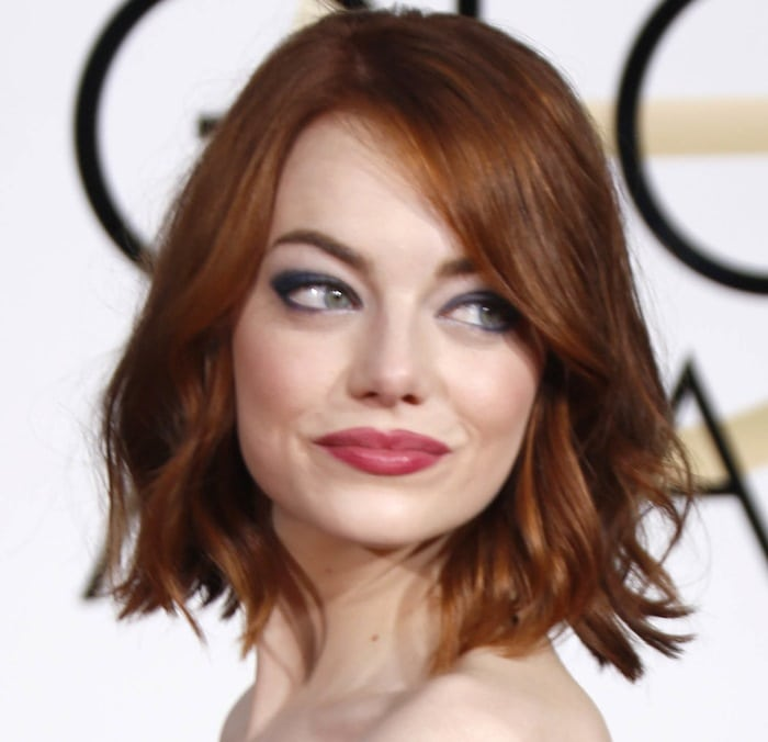 Emma Stone at the 72nd Annual Golden Globe Awards at The Beverly Hilton Hotel in Beverly Hills on January 11, 2015