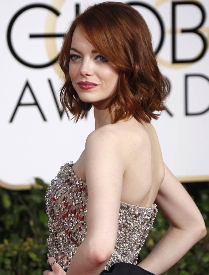 Emma Stone'ssparkling Lanvin jumpsuit from Lanvin featuring embellished bodice