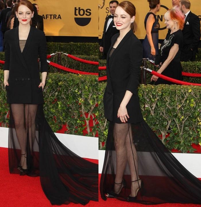 Emma Stone paraded her legs in Gardnera peep-toe heels from Christian Louboutin