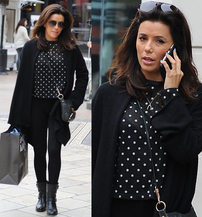 Eva Longoria wearing a polka-dot top and biker boots while shopping at The Grove in Los Angeles on January 29, 2015
