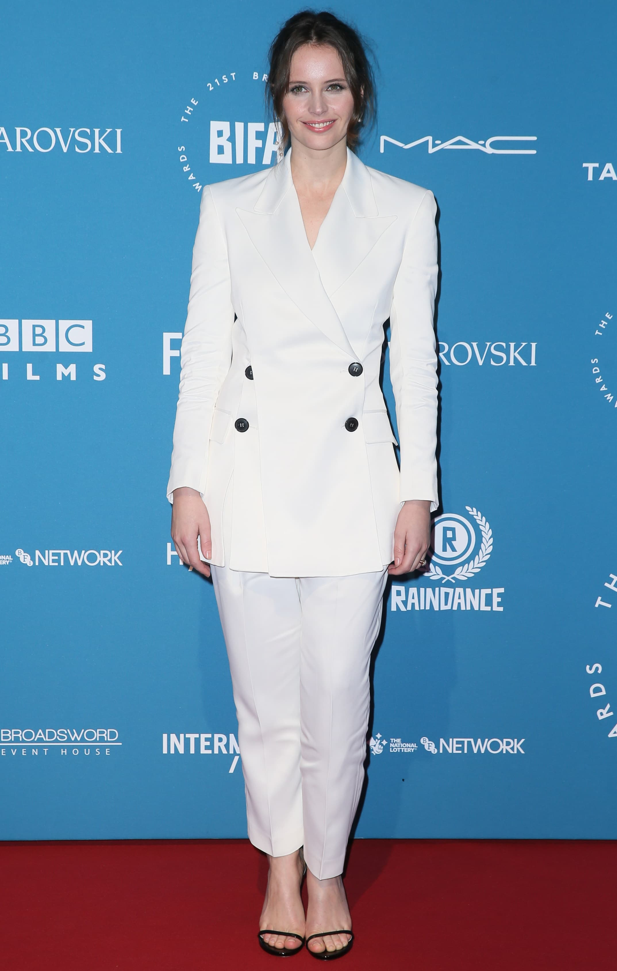 Felicity Jones received the Variety Award at the 2018 British Independent Film Awards (aka the BIFAs) at Old Billingsgate in London, England, on December 2, 2018