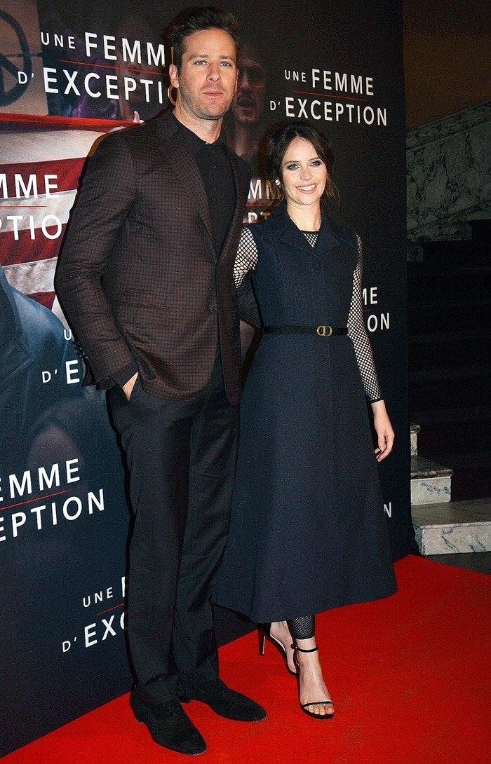 Felicity Jones and Armie Hammer at the premiere of On the Basis of Sex at Cinema Gaumont Capucine in Paris, France, on December 4, 2018