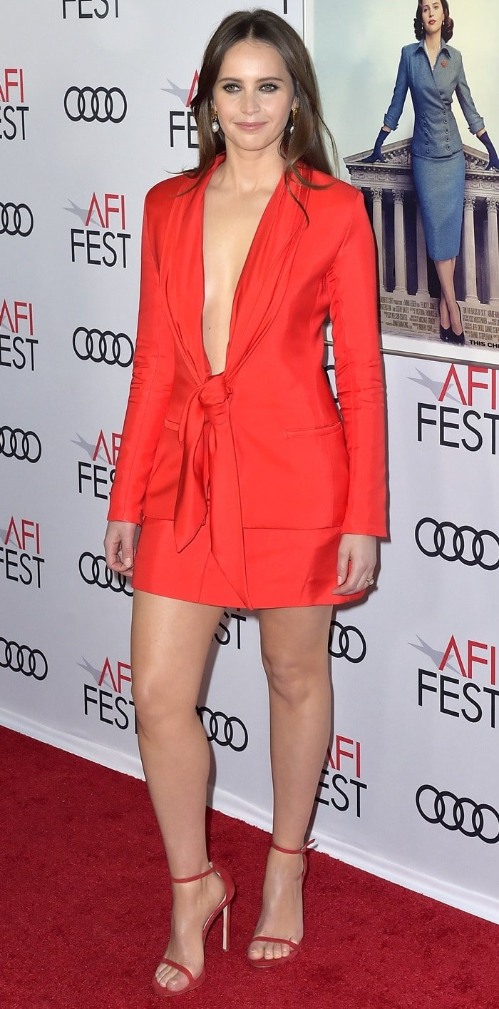 Felicity Jones flaunts her sexy legs at the opening night world premiere gala screening of her latest film On The Basis Of Sex