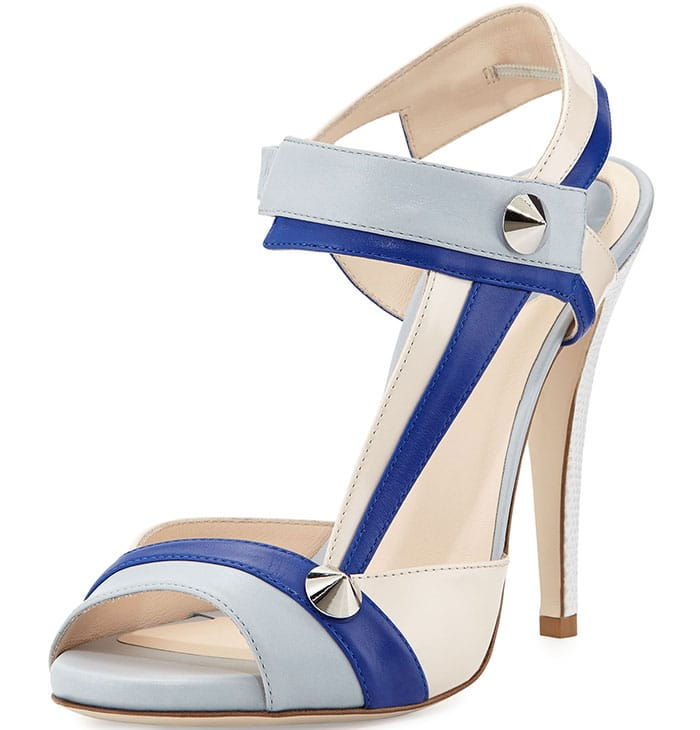 Fendi Asymmetric Leather Stud Sandals in Blue