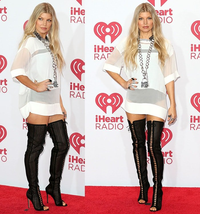 Fergie wearing a jersey dress with over-the-knee boots