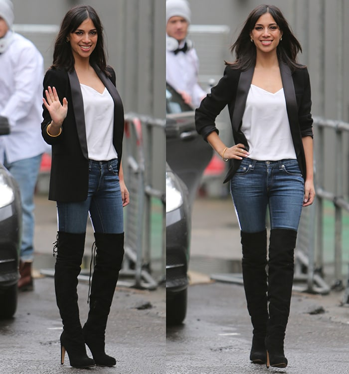 Fiona Wade wearing thigh-high boots with skinny jeans