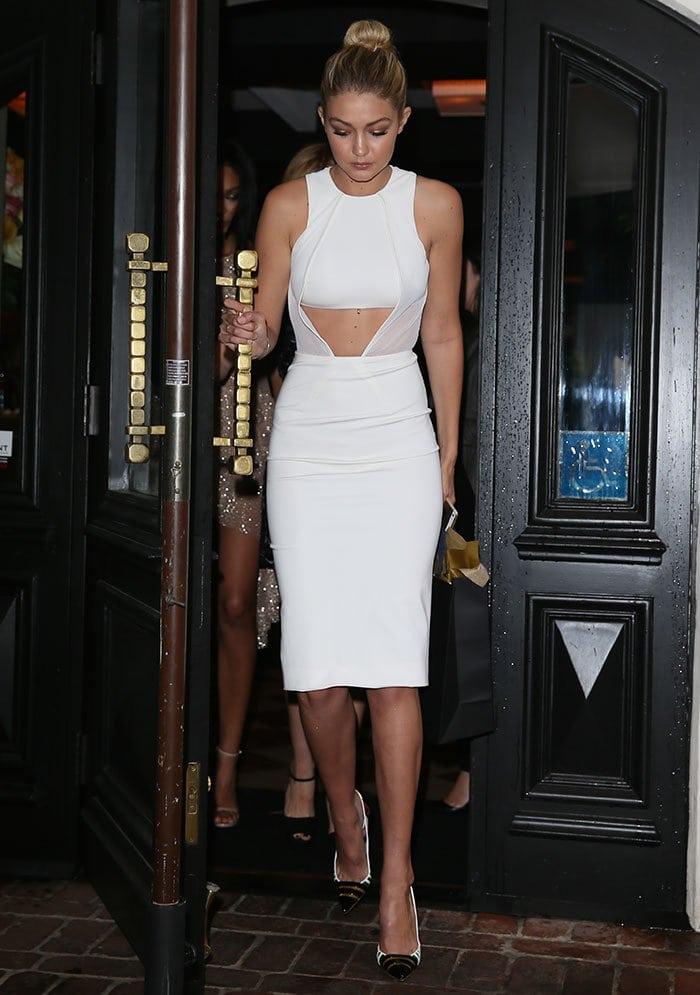 Gigi Hadid's peek-a-boo dress with a daring trapezoidal cut
