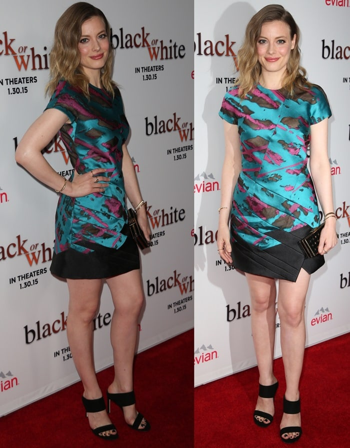 Gillian Jacobs ina multicolored paneled mini dress from the J. Mendel Spring 2015 collection