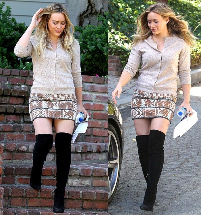 Hilary Duff wearingthigh-high boots while leaving an interpretation class