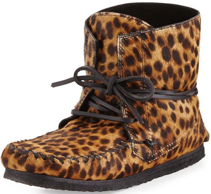 Isabel Marant Flavie Leopard-Print Calf Hair Moccasin Boot