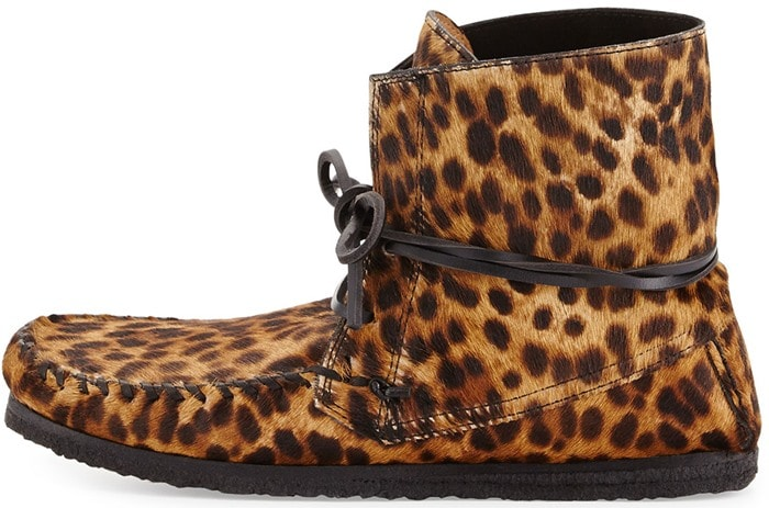 Isabel Marant Flavie Leopard-Print Calf Hair Moccasin Boots