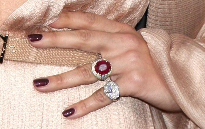 Jennifer Lopez showing off her Jacqueline Nerguizian rings