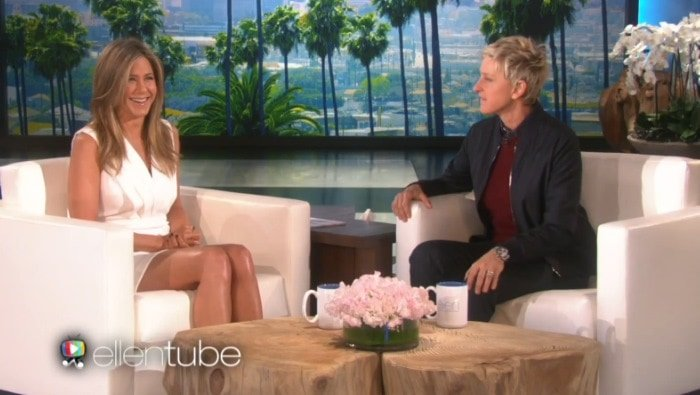 Jennifer Aniston makes an appearance on The Ellen Show on January 19, 2015