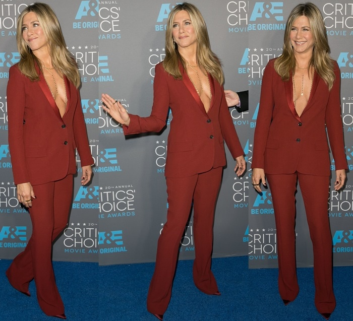Jennifer Aniston styled her Gucci tuxedo with Iriza pumps from Christian Louboutin