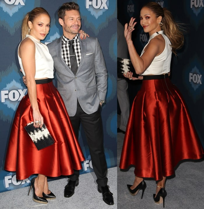 Jennifer Lopez and Ryan Seacrest pose for photos at the FOX portion of the 2015 Winter TCA Tour
