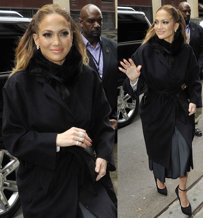 "Jennifer Lopez clips her hair back as she arrives for a guest appearance on ""The Wendy Williams Show"""