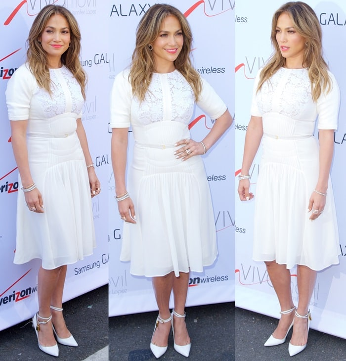 Jennifer Lopez sported the Tom Ford pumps with a white lace panel pleated Elie Saab dress