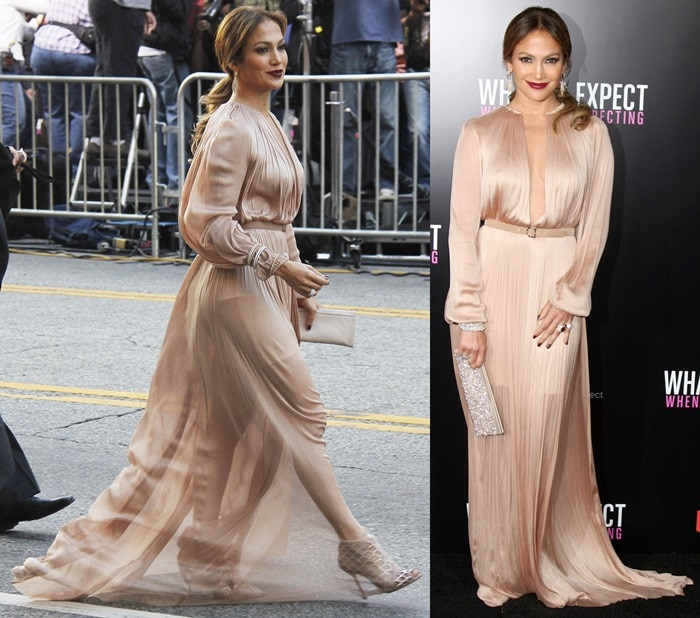 Jennifer Lopez 's nude long-sleeve Maria Lucia Hohan belted gown featuring an illusion panel