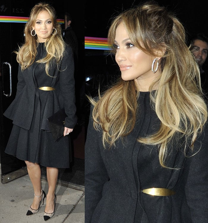 "Jennifer Lopez wears an all-black cinched-waist look as she leaves ""The Wendy Williams Show"""