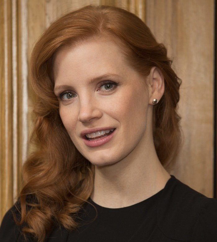 Jessica Chastain at a photocall for her latest film A Most Violent Year at The Soho Hotel in London on January 20, 2015