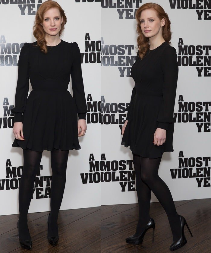 Jessica Chastain paraded her incredible legs in black stocking