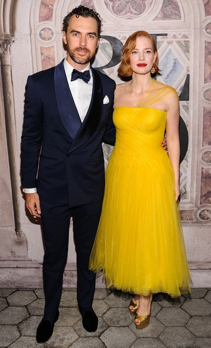 Jessica Chastain posing with her husband, Gian Luca Passi de Preposulo, at the Ralph Lauren fashion show held during New York Fashion Week in New York City on September 7, 2018